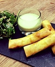 Spring rolls, fromage blanc and basil sauce
