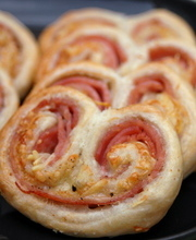 Savory ham and cheese palmiers