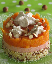 Mashed carrots, quinoa, ham and hazelnut espuma