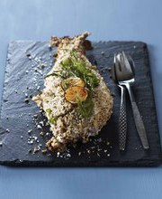 Sea bream in lemon and fennel flavored salt crust