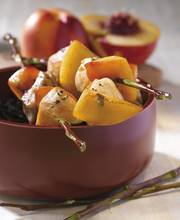 Regional chicken and nectarine skewers with balsamic vinaigrette