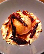Apple infused in citrus-flower syrup, apple, blackcurrant pepper with cottage cheese and brazil nuts