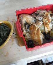 Roasted chicken with Swiss chard puree