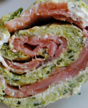 Salmon, zucchini and cream cheese roulade