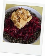 Lentil salad with beet, parsnip confit and shallots