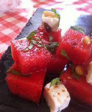 Watermelon, feta cheese and mint salad