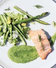 Detox salad with salmon, cucumber, asparagus and avocado