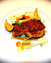 Gomasio-crusted salmon with seared zucchini and almond cream