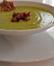 Broccoli gorgonzola and capocollo soup