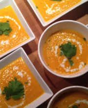 Carrot, coconut and curry soup