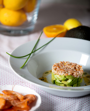 Avocado, shrimp and citrus fruit tartare