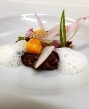 Japanese steak tartare with mango, pickles and lemongrass emulsion