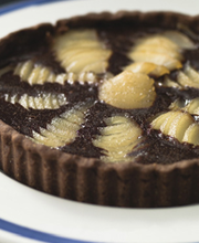 Pear, chocolate and caramel tart