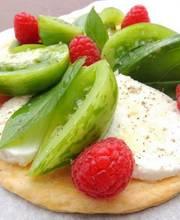 THIN CRUST GREEN TOMATO TART-MOZZARELLA & RASPBERRIES