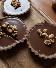 Milk Chocolate tartlets with buck wheat crust