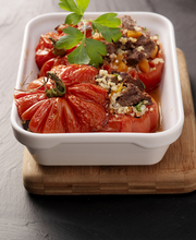 Tomatoes stuffed with beef cheek and quinoa