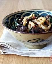 Udon noodles with roast pork