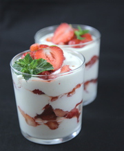 Strawberry mascarpone in a glass