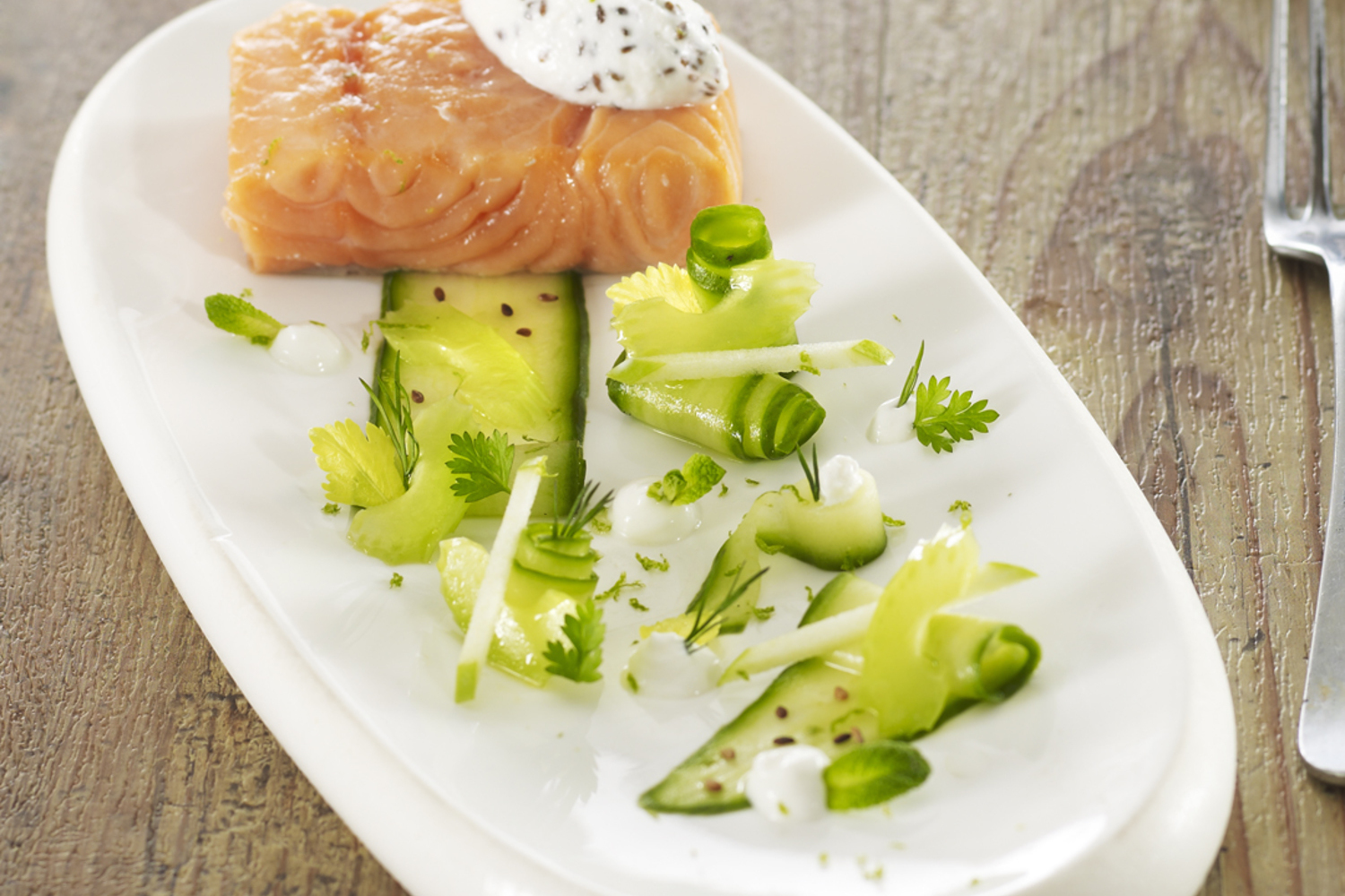 LT cooked salmon, cucumber with rice wine and fresh farmer cheese with  toasted sesame seeds