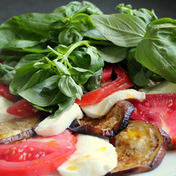 Broiled eggplant with mozzarella, tomato and basil