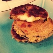 Breaded eggplants with goat cheese filling