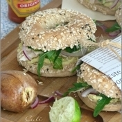 Chicken-avocado bagels