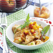 Roast chicken breast with peach chutney