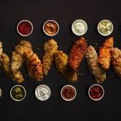 Crunchy  sesame-coated chicken bites