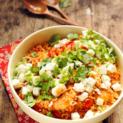 Salakis (feta), tomato flavored shrimp & bulgur salad