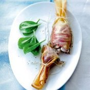 Red mullet in brik pastry with tapenade and basil