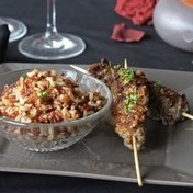 Beef Skewers with sesame, rice and ginger