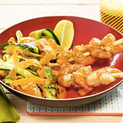 Shrimp skewers with stir-fry vegetables