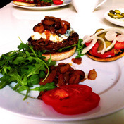 Blue cheese burger with caramelized onions