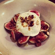 Burrata with figs and almonds