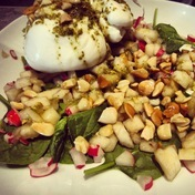 Burrata with pears and radishes