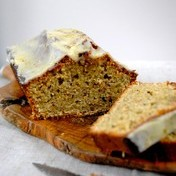 Pistachio and orange blossom cake with orange frosting