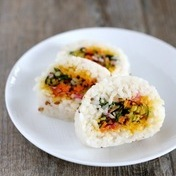 Root vegetable, saffron and mustard California rolls