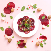 Beet carpaccio with mint and walnut pesto