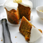 Carrot cake with hazelnuts and lemon frosting