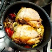 Poussin (cockerel) with slow-cooked vegetables