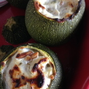 Zucchini stuffed with ricotta and goat cheese