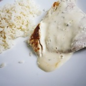 Turkey scaloppine with Boursin cream cheese sauce