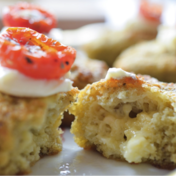 Savory financier (almond cake) with pesto, melted Perail cheese center