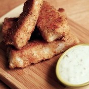 Homemade fish sticks with tartare sauce