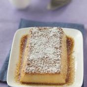 Moist coconut flan