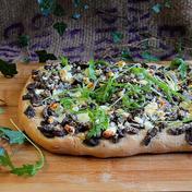 Mushroom focaccia, feta and arugula
