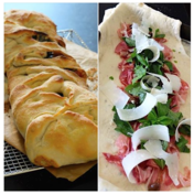 Cured ham, arugula and parmesan fougasse bread