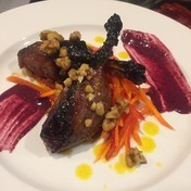 Glaze Duck leg, CurryCarrots,Blueberry Dijon