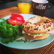 Turkey, cream cheese and apple bagel