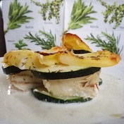 Alaskan Hake Gratin with Zucchini and Potatoes